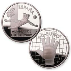 España 10 euros Mundial de Futbol 2002 Guante KM1080 Plata Proof UNC
