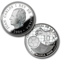 España 10 euros 2004 Mundial de Futbol 2006 KM1102 Plata Proof UNC