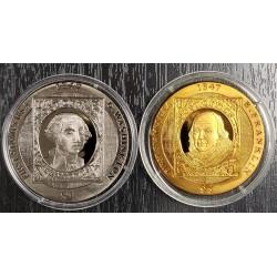 Islas Virgenes Britanicas $1+ $5 Titanium 2007 First Stamp U.S.A UNC