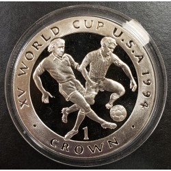 Isla de Man 1 Crown 1994 XV World Cup U.S.A KM374a Plata Proof