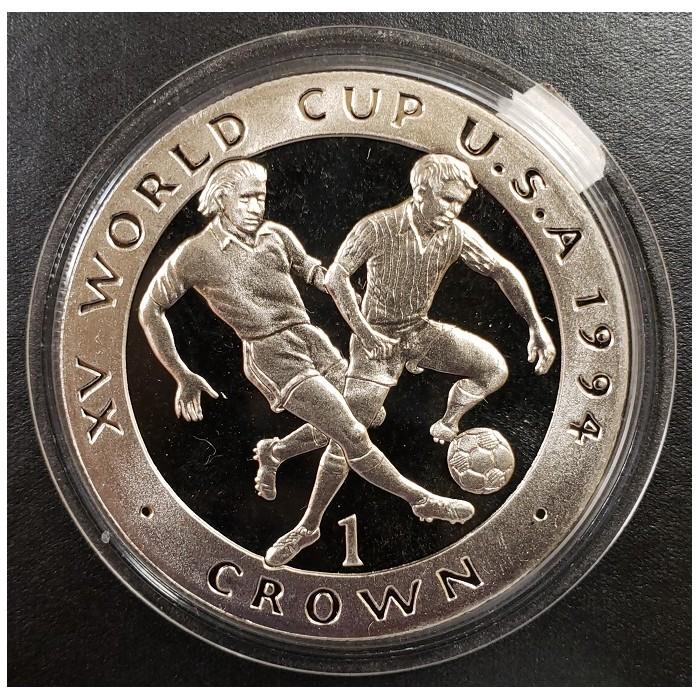 Isla de Man 1 Crown 1994 XV World Cup U.S.A KM374a Plata Proof