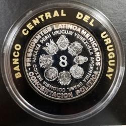 Uruguay N$ 5000 Concentracion Presidentes Latinoamericanos 1988 KM99 Plata Proof UNC