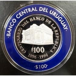 Uruguay $100 centenario del banco de la republica 1996 KM112 Plata Proof UNC