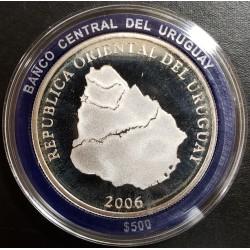Uruguay $500 250 Aniv ciudad de Salto 2006 KM133 Plata Proof UNC