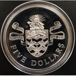 Islas Cayman 5 Dolares 1973 KM8 Armas Plata UNC