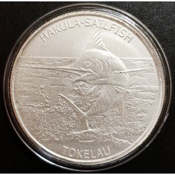 Tokelau 5 Dolares 2016 Halkula Sailfish 1 onza Plata UNC