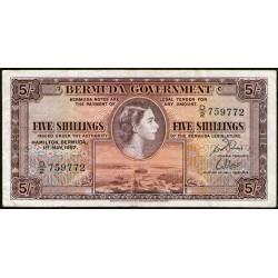 Bermuda 5 Shillings 1957 P18b MB/MB+