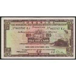 Hong Kong 5 Dollars 31-10-1972 P181e MB/MB+