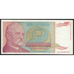Yugoeslavia 500 Billones Dinars 1993 UNC