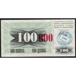 Bosnia Hercegovina 100.000 Dinara 1993 P56 UNC