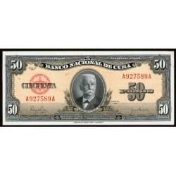 Cuba 50 Pesos 1950 P81a UNC
