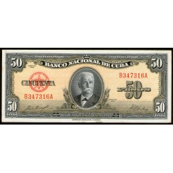 Cuba 50 Pesos 1958 P81b UNC