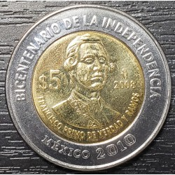 """Mexico 5 Pesos 2008 KM900.2 Variante sin puntos """"Francisco primo de verdad y ramos"""" EXC+"""