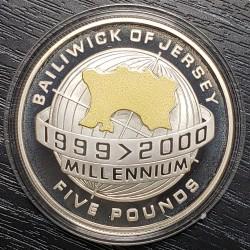 Jersey 5 Pounds 2000 KM109 Globe Millenium Silver UNC