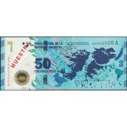MUESTRA 50 Pesos Malvinas Serie A 2015 UNC