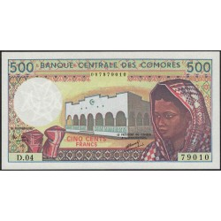 Comores P11a 500 Francos 1986 UNC