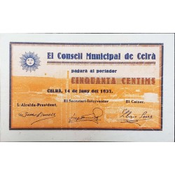 España Billete Local Consell Municipal de Celra año 1937 UNC