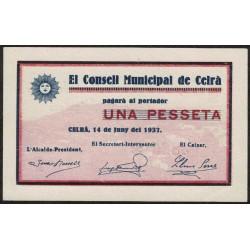 España Billete Local Consell Municipal de Celra 1 Pesseta año 1937 UNC