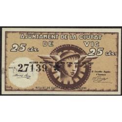 España Ajuntamiento de la ciudad de Vic 25 Centavos 1937 UNC