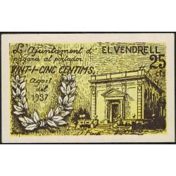 España Billete Ajuntament El Vendrell 25 Cts 1937 UNC