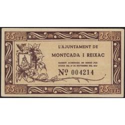 España Ajuntament de Montcada I Reixac 25 Centims 1937 EXC+