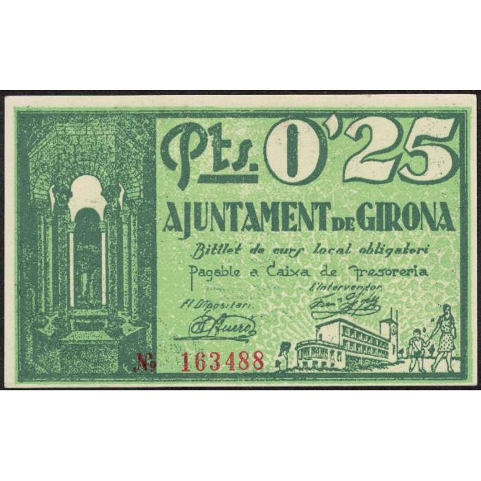 España Ajuntament de Girona 0.25 Pts 1937 EXC+