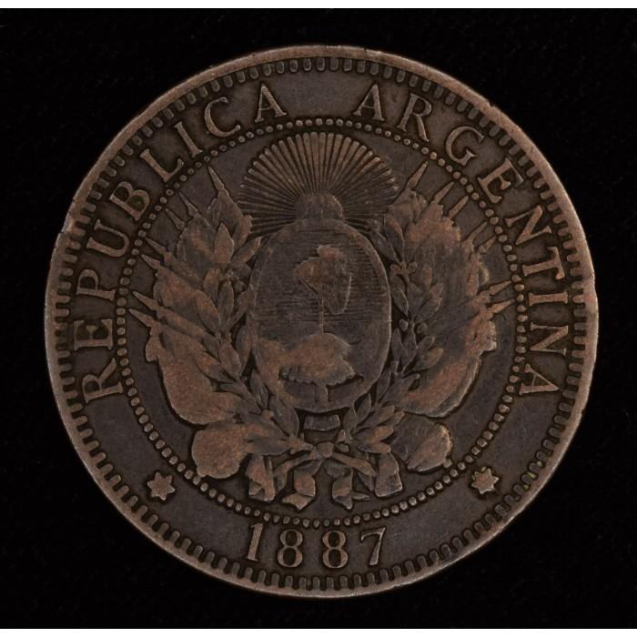 Argentina 2 Centavos 1887 MB/MB+