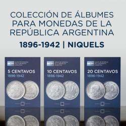 Juego de Albumes Rep. Argentina 5/10/20 Centavos 1896-1942 Numisgraph