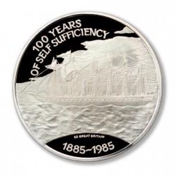 Islas Malvinas 25 Pounds 1985 KM20 Barco 150g Ag UNC