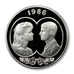 Islas Malvinas 25 Pounds 1986 Casamiento 150g Plata UNC