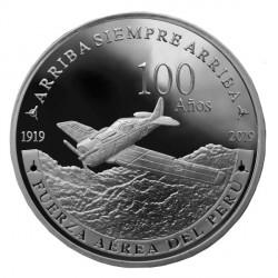 """Peru Moneda de Plata 1 nuevo sol 2019 """"100 Años Fuerza Aerea del Perú"""" Onza Proof UNC"""