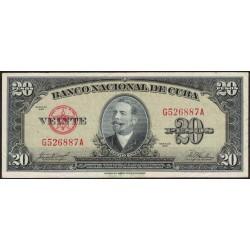 Cuba 20 Pesos 1958 P80b MB+