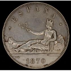España 5 Pesetas 1870 (70) KM655 Ag MB+