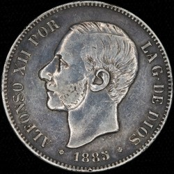 España 5 Pesetas 1885 (87) MSM KM688 Ag MB+