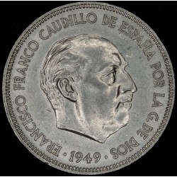 España 5 Pesetas 1949 (49) Franco KM778 Níquel UNC