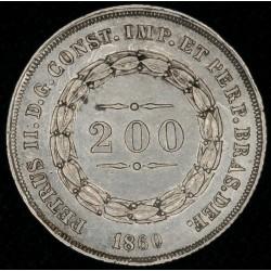 Brasil 200 Reis 1860 KM469 Ag EXC+