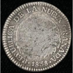 Colombia Nueva Granada 1 Real 1838 KM91.1 Ag B
