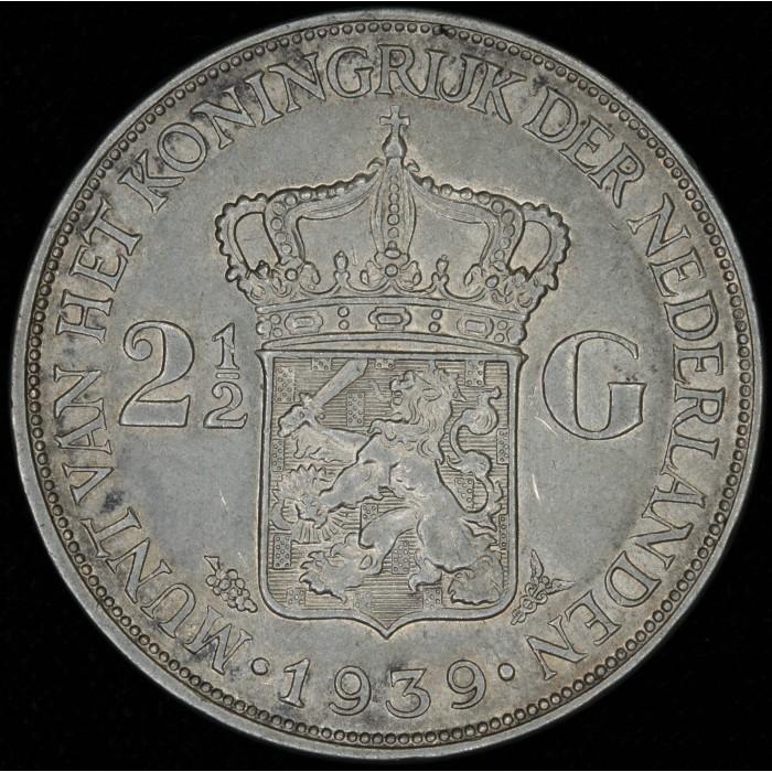 Holanda 2 1/2 Gulden 1939 KM165 Ag EXC
