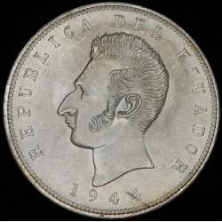 Ecuador 5 sucres 1944 Simon Bolivar KM79 Ag UNC