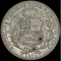 Peru 1 Sol 1934 KM218.2 Ag UNC
