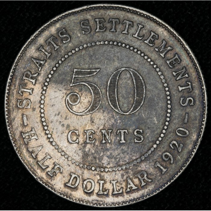 Straits Settlements 50 Cents 1920 KM35.1 Ag MB/EXC