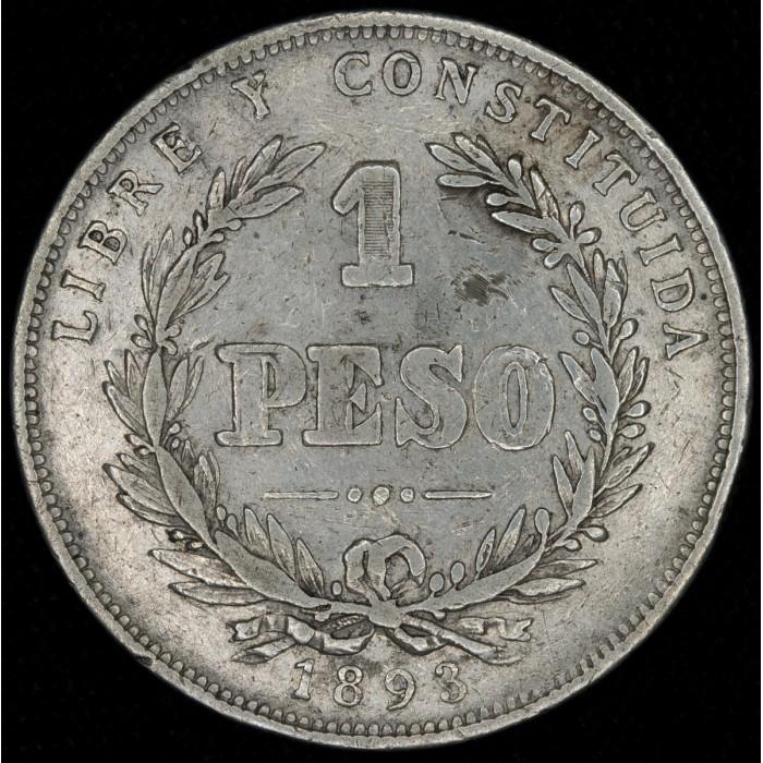 Uruguay 1 Peso 1893 KM17a Ag MB