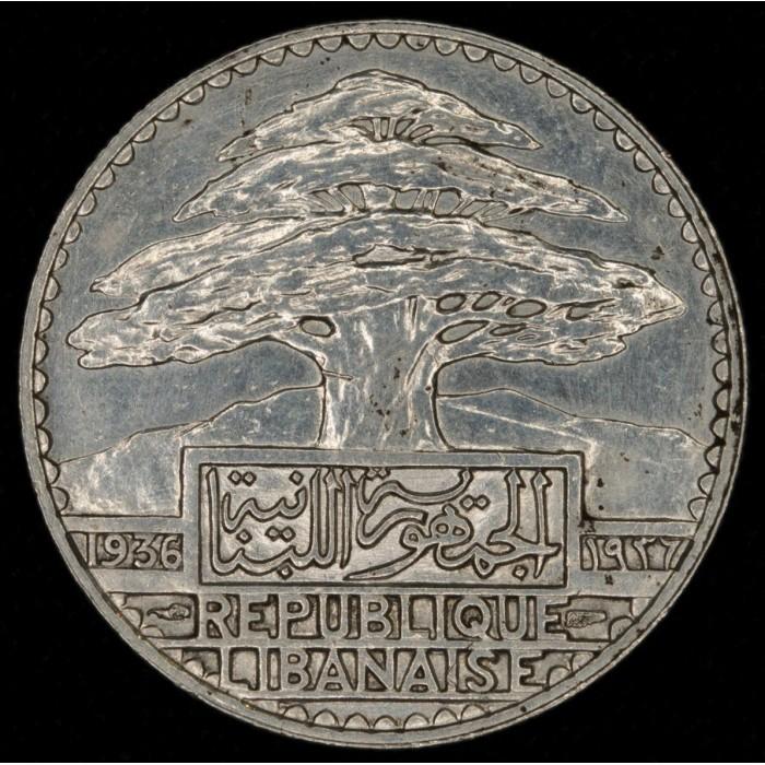 Libano 50 Piastres 1936 KM8 Ag UNC