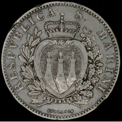 San Marino 2 Liras 1898 KM5 Ag EXC-