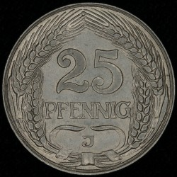 Alemania Reich 25 Pfenning 1912J KM18 UNC