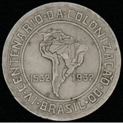 "Brasil 400 Reis 1932 KM529 ""400° Aniv Colonizacion"" MB+"