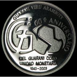 Paraguay 1 Guarani 60 Aniversario año 2003 Ag UNC