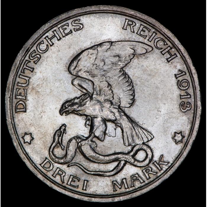 Alemania Prusia 3 Mark 1913 KM534 Ag UNC
