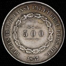 Brasil 500 Reis 1857 KM464 Ag MB C/Resto de Soldadura en Canto