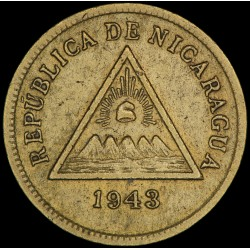 Nicaragua 1 Centavo de Córdoba 1943 KM20 MB+